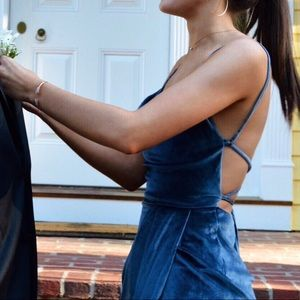 Shona Joy Dresses - VELVET BLUE DRAPE DRESS